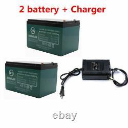 2pc 12V Battery 12AH+ 24v Charger for electric scooter go kart Wheelchair E-BIKE