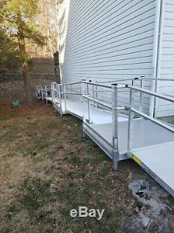 72' Aluminum Wheelchair Entry Ramp & Handrails Surface Scooter Mobility Access