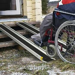 Livebest 7Ft Folding Wheelchair Ramp Aluminum Scooter Non-Slip Pet Threshold