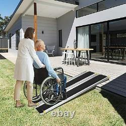 Lonabr 7Ft Folding Wheelchair Ramp Aluminum Non-Slip Mobility Scooter Threshold