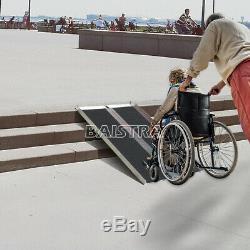 Portable Cargo Carrier Wheelchair Scooter Mobility Ramp N-Slip Aluminum Folding