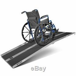 Wheelchair Ramp, Portable Solid Surface Scooter Access, Aluminum, Multifold, 8