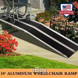 10 Fauteuil Roulant Pliant En Aluminium Rampe Portable Mobilité Antidérapante Transporteur Scooter