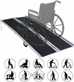 6' Portable Pliant En Aluminium Rampe De Fauteuil Roulant Scooter Mobilité Avec Poignée De Transport