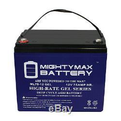 Puissant Max 12v 75ah Gel De Remplacement De La Batterie Pour Scooter Fauteuil Motorisé