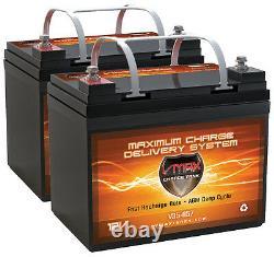Qty2 Vmax V35-857 12v 35ah U1 Batteries Agm Pour Scooter Coquin À Mobilité Électrique