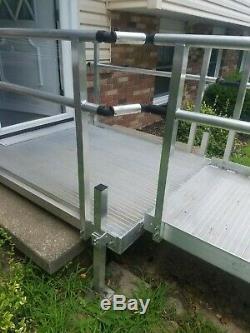 Rampe De Handicap Pour Fauteuil Roulant En Aluminium, Longueur De 27 'avec 2 Plateformes, Prise En Charge Uniquement
